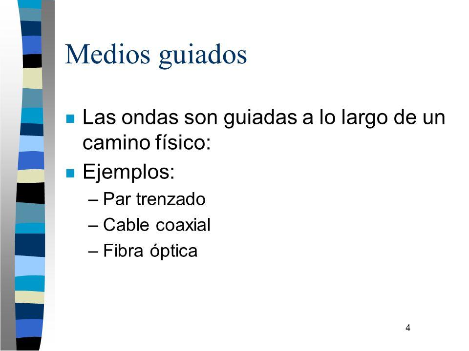 4 Medios guiados n Las ondas son guiadas a lo largo de un camino físico: n Ejemplos: –Par trenzado –Cable coaxial –Fibra óptica
