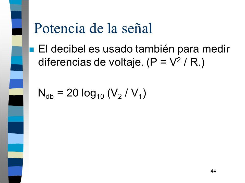 44 Potencia de la señal n El decibel es usado también para medir diferencias de voltaje. (P = V 2 / R.) N db = 20 log 10 (V 2 / V 1 )