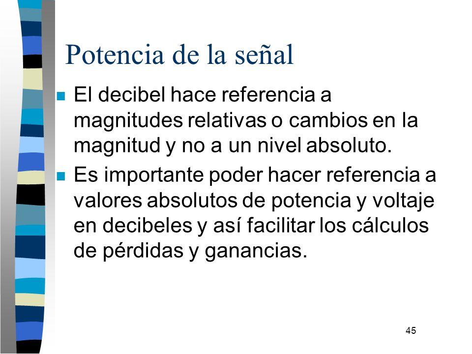 45 Potencia de la señal n El decibel hace referencia a magnitudes relativas o cambios en la magnitud y no a un nivel absoluto. n Es importante poder h