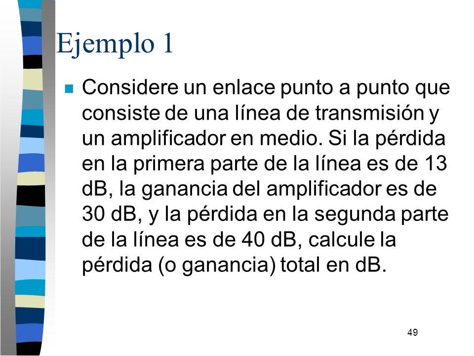 49 Ejemplo 1 n Considere un enlace punto a punto que consiste de una línea de transmisión y un amplificador en medio. Si la pérdida en la primera part