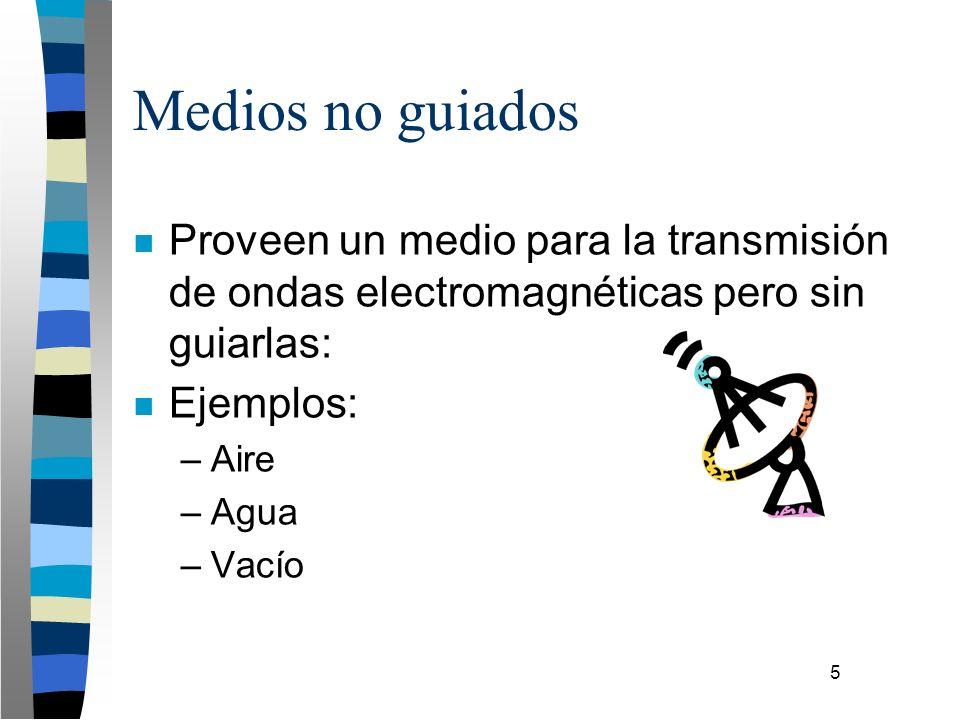 5 Medios no guiados n Proveen un medio para la transmisión de ondas electromagnéticas pero sin guiarlas: n Ejemplos: –Aire –Agua –Vacío