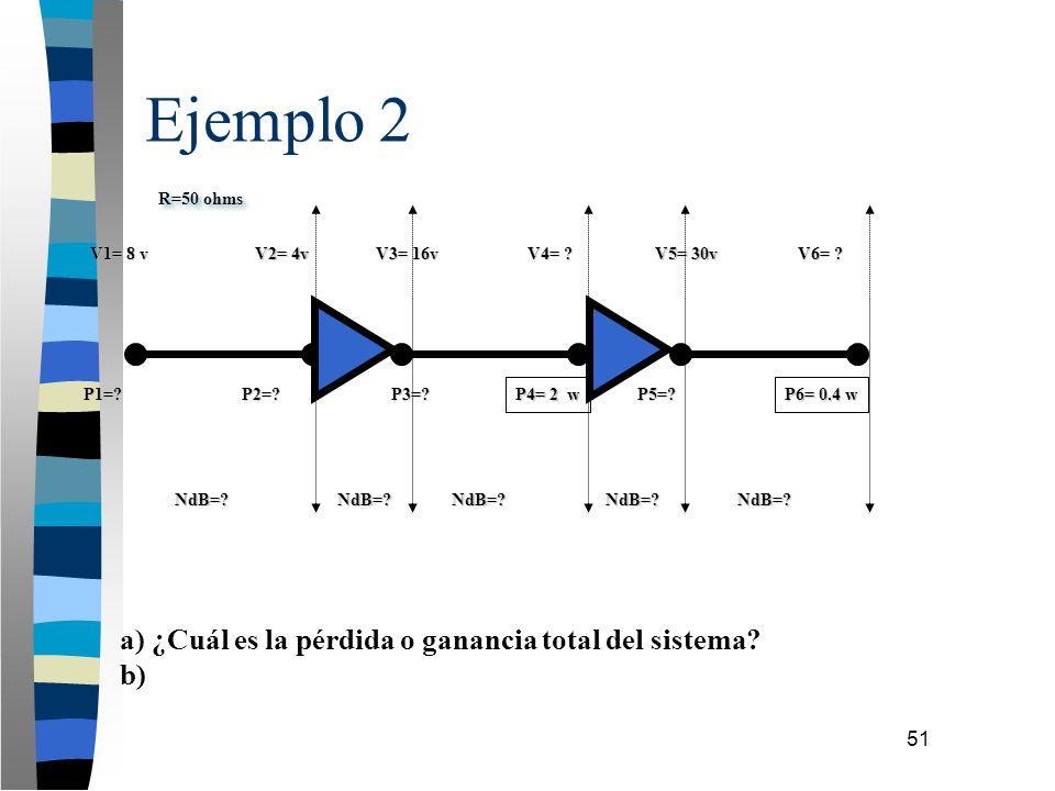 51 Ejemplo 2 a) ¿Cuál es la pérdida o ganancia total del sistema? b) R=50 ohms V1= 8 v V3= 16v V2= 4v P1=?P2=? NdB=? P3=? NdB=?NdB=?NdB=?NdB=? P6= 0.4