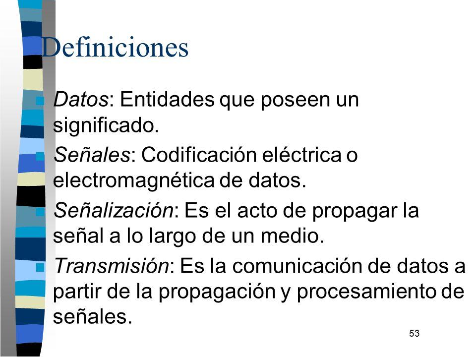 53 Definiciones n Datos: Entidades que poseen un significado. n Señales: Codificación eléctrica o electromagnética de datos. n Señalización: Es el act