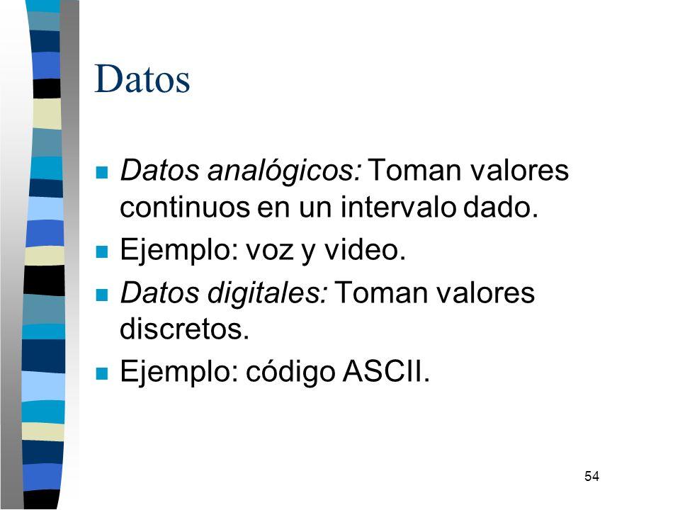 54 Datos n Datos analógicos: Toman valores continuos en un intervalo dado. n Ejemplo: voz y video. n Datos digitales: Toman valores discretos. n Ejemp