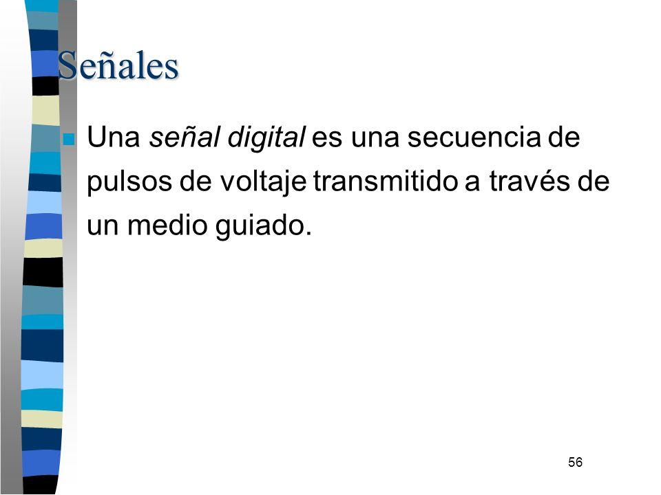 56 Señales n Una señal digital es una secuencia de pulsos de voltaje transmitido a través de un medio guiado.