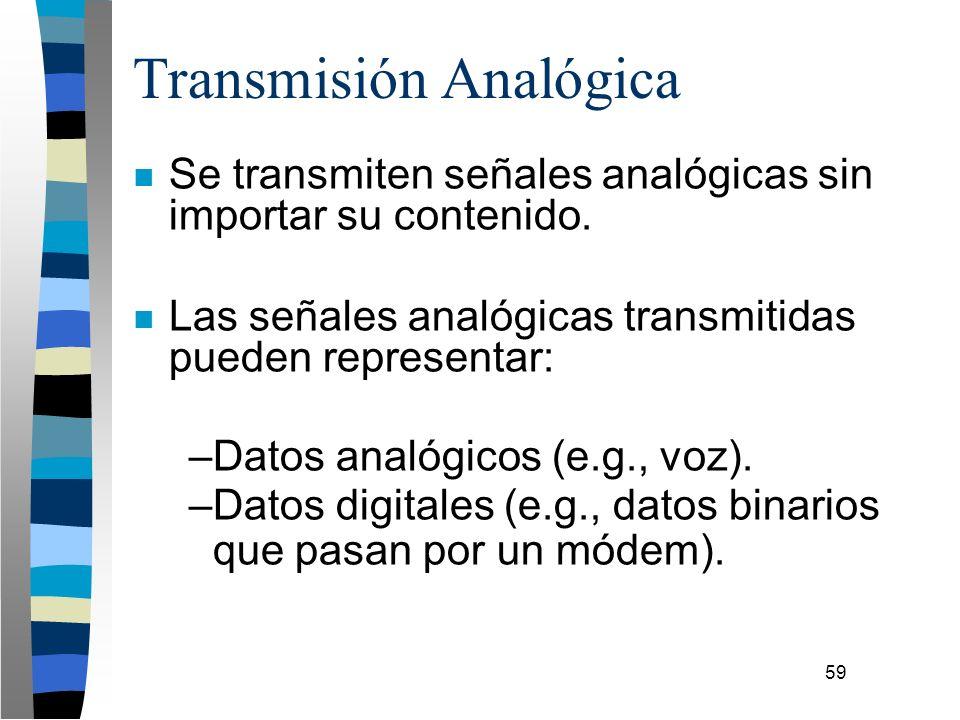 59 Transmisión Analógica n Se transmiten señales analógicas sin importar su contenido. n Las señales analógicas transmitidas pueden representar: –Dato