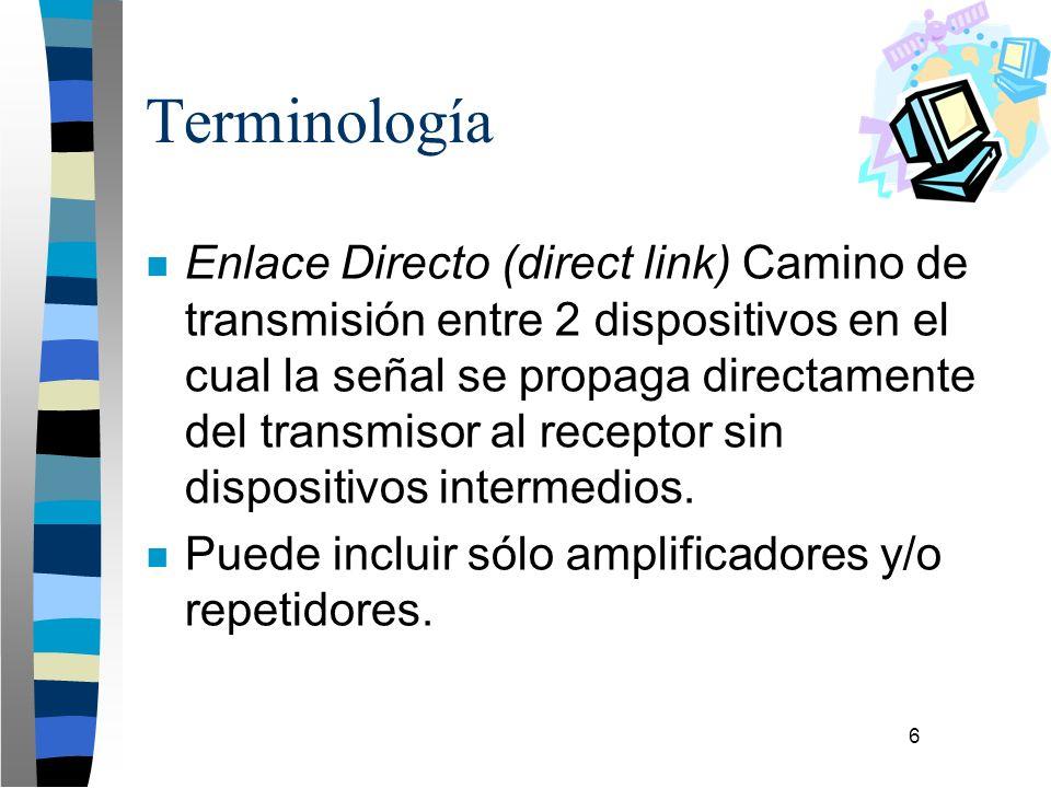 6 Terminología n Enlace Directo (direct link) Camino de transmisión entre 2 dispositivos en el cual la señal se propaga directamente del transmisor al