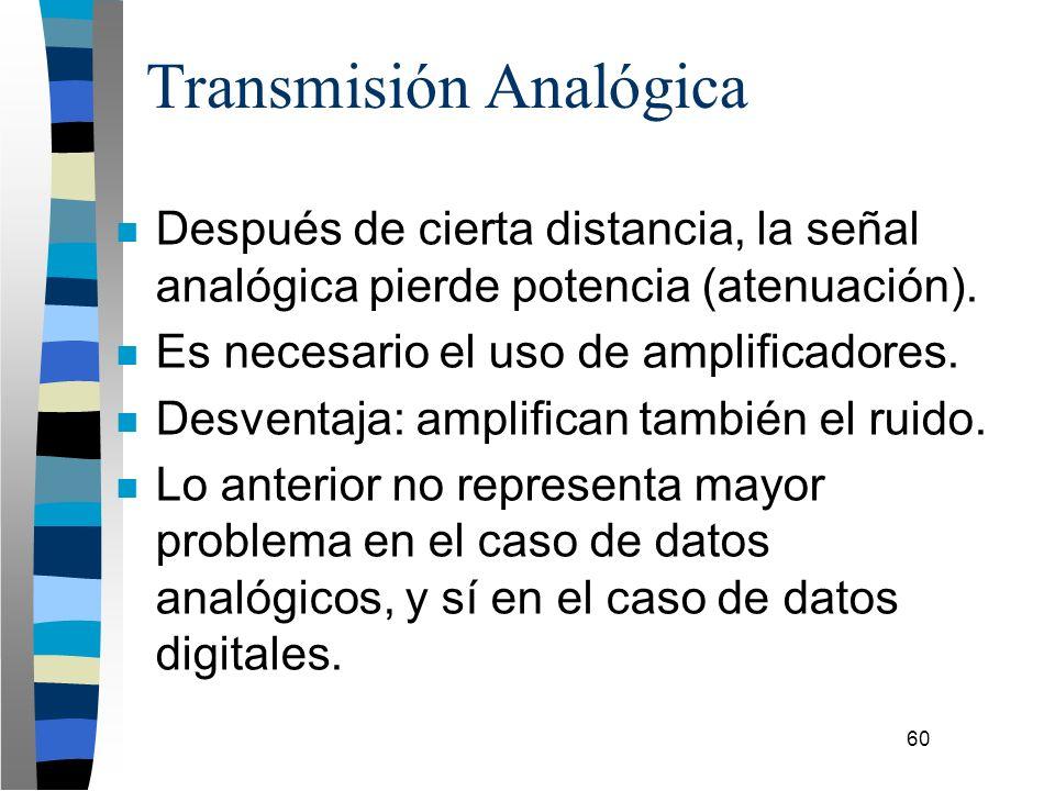 60 n Después de cierta distancia, la señal analógica pierde potencia (atenuación). n Es necesario el uso de amplificadores. n Desventaja: amplifican t