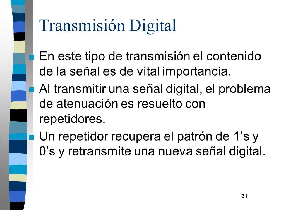 61 Transmisión Digital n En este tipo de transmisión el contenido de la señal es de vital importancia. n Al transmitir una señal digital, el problema