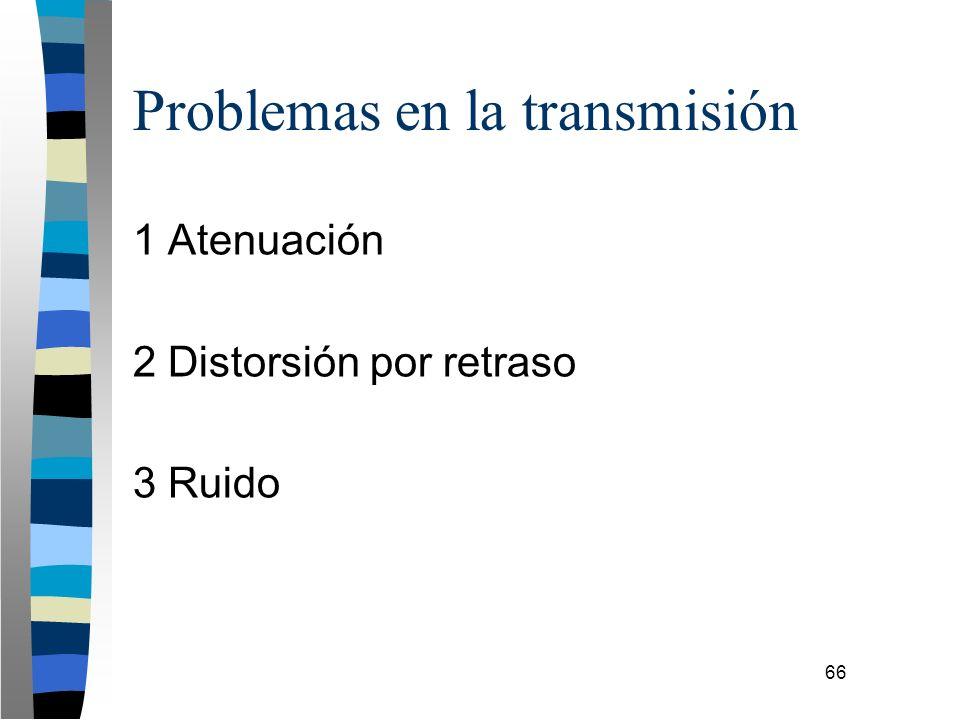 66 Problemas en la transmisión 1 Atenuación 2 Distorsión por retraso 3 Ruido