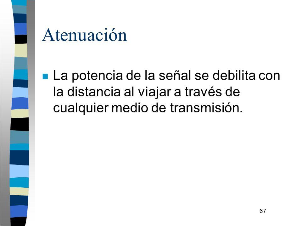 67 Atenuación n La potencia de la señal se debilita con la distancia al viajar a través de cualquier medio de transmisión.