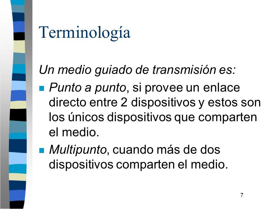 7 Terminología Un medio guiado de transmisión es: n Punto a punto, si provee un enlace directo entre 2 dispositivos y estos son los únicos dispositivo