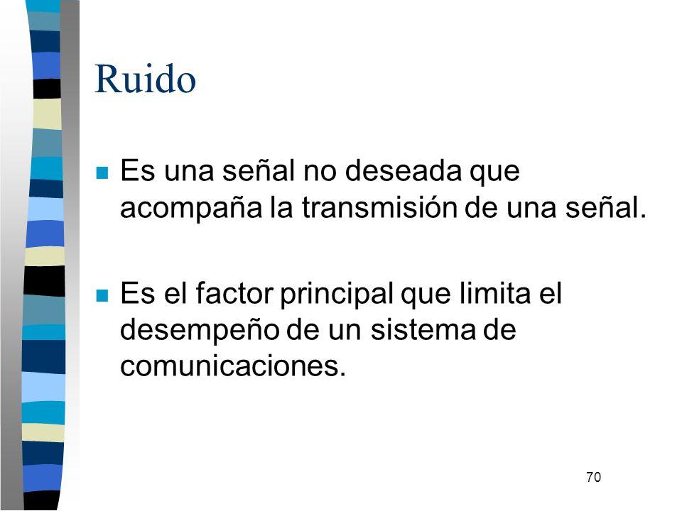 70 Ruido n Es una señal no deseada que acompaña la transmisión de una señal. n Es el factor principal que limita el desempeño de un sistema de comunic
