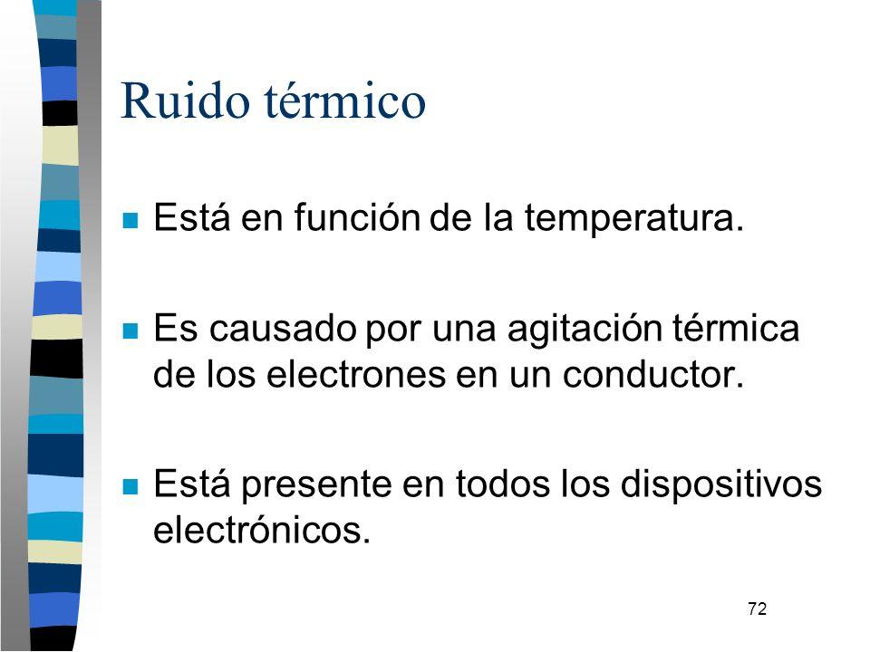 72 Ruido térmico n Está en función de la temperatura. n Es causado por una agitación térmica de los electrones en un conductor. n Está presente en tod