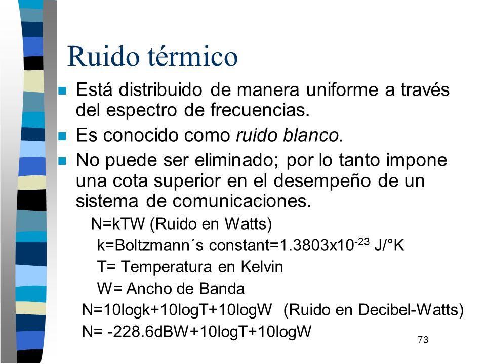 73 n Está distribuido de manera uniforme a través del espectro de frecuencias. n Es conocido como ruido blanco. n No puede ser eliminado; por lo tanto