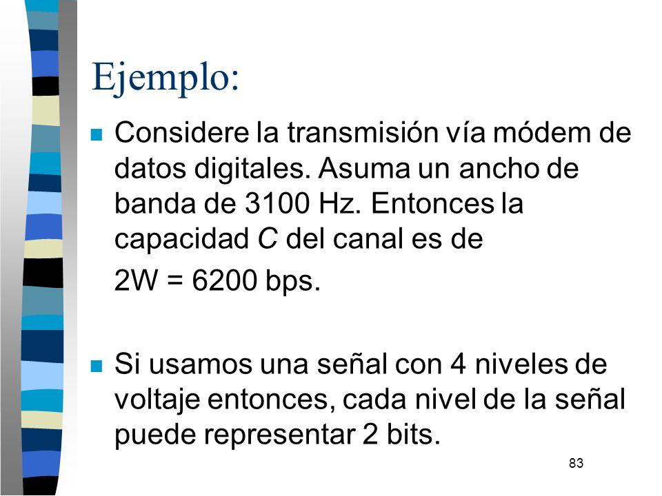 83 Ejemplo: n Considere la transmisión vía módem de datos digitales. Asuma un ancho de banda de 3100 Hz. Entonces la capacidad C del canal es de 2W =
