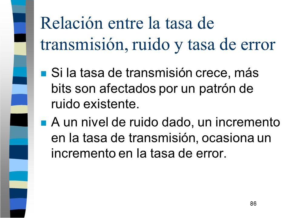 86 Relación entre la tasa de transmisión, ruido y tasa de error n Si la tasa de transmisión crece, más bits son afectados por un patrón de ruido exist