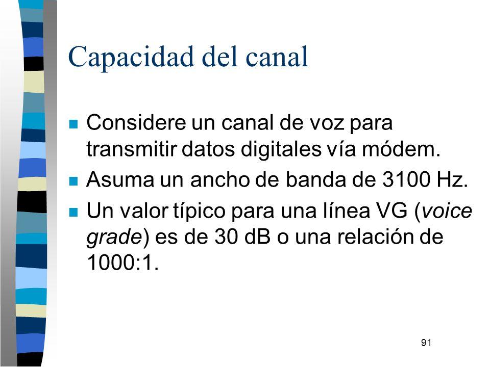91 Capacidad del canal n Considere un canal de voz para transmitir datos digitales vía módem. n Asuma un ancho de banda de 3100 Hz. n Un valor típico