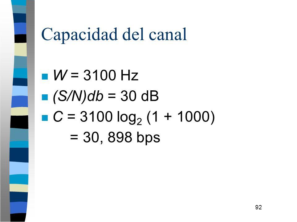 92 Capacidad del canal n W = 3100 Hz n (S/N)db = 30 dB n C = 3100 log 2 (1 + 1000) = 30, 898 bps