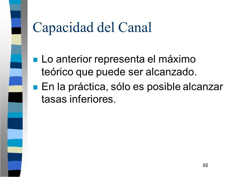 95 Capacidad del Canal n Lo anterior representa el máximo teórico que puede ser alcanzado. n En la práctica, sólo es posible alcanzar tasas inferiores