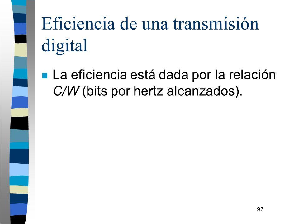 97 Eficiencia de una transmisión digital n La eficiencia está dada por la relación C/W (bits por hertz alcanzados).