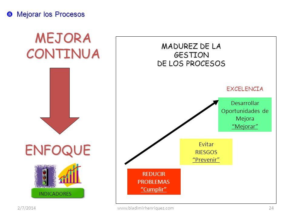 Evitar RIESGOS Prevenir REDUCIR PROBLEMAS Cumplir Desarrollar Oportunidades de Mejora Mejorar MEJORACONTINUA ENFOQUE MADUREZ DE LA GESTION DE LOS PROC