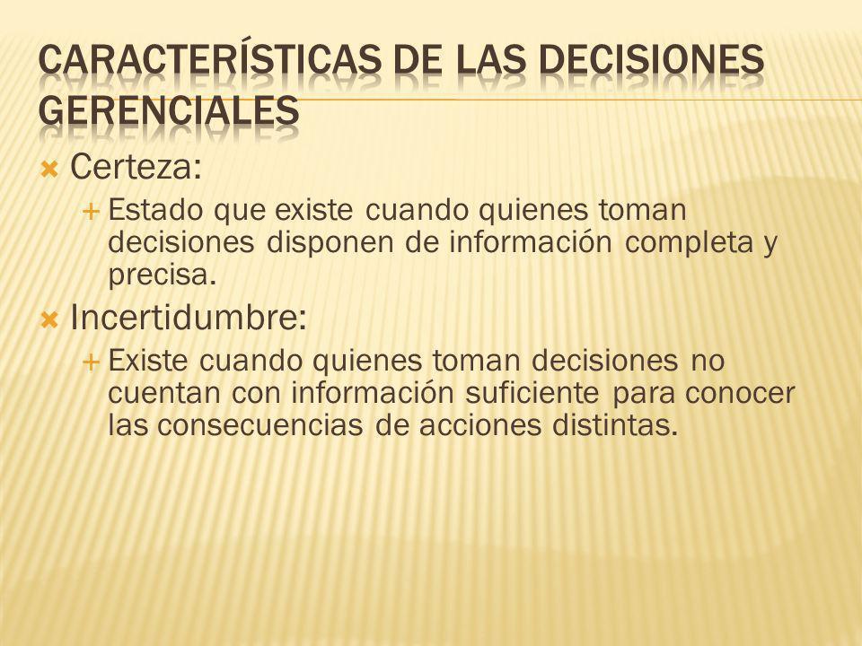 Incertidumbre Riesgo Decisiones programadas y decisiones no programadas Decisiones programadas y decisiones no programadas Conflicto