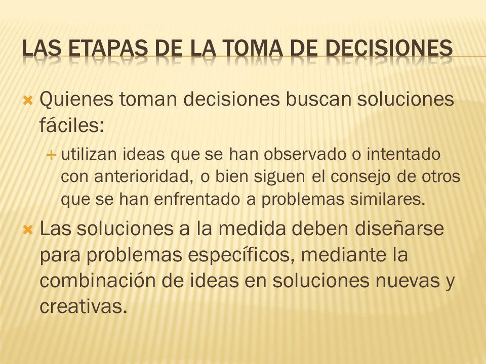 Búsqueda de información Necesita que el tomador de decisiones reúna toda la información necesaria acerca de cada una de las alternativas. Retomando el
