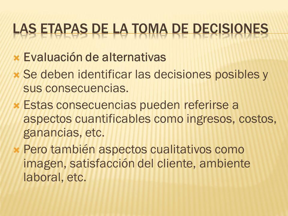 Es fundamental predecir las consecuencias de lo que sucedería al poner en práctica diversas opciones y los efectos sobre las medidas financieras u otr