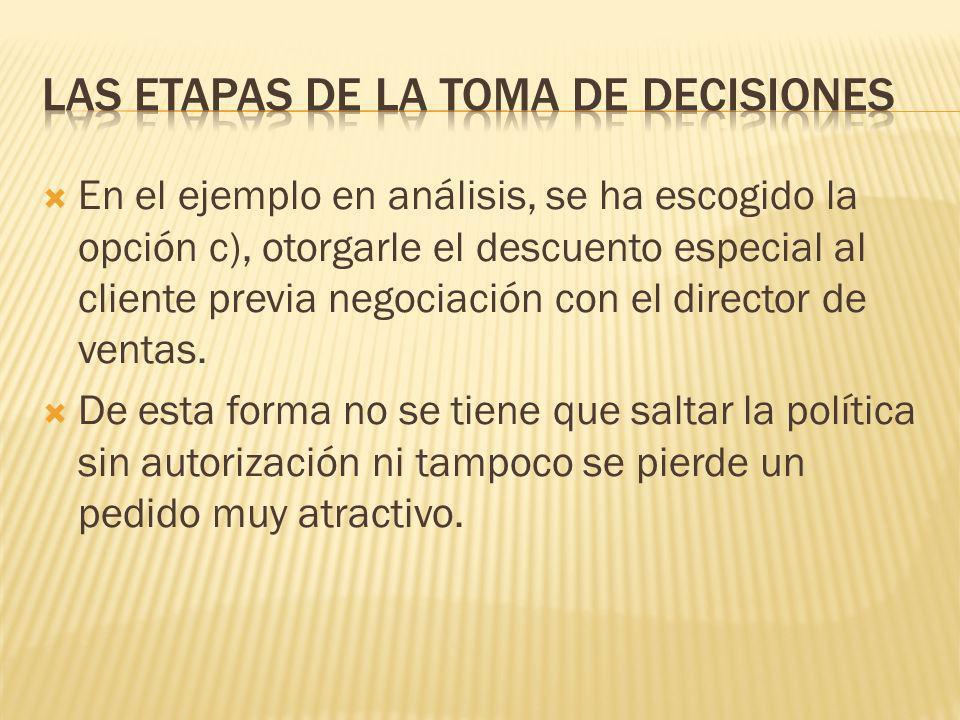 Elección de la mejor opción La persona que toma la decisión debe elegir la mejor opción después de haber analizado todas las alternativas viables. La