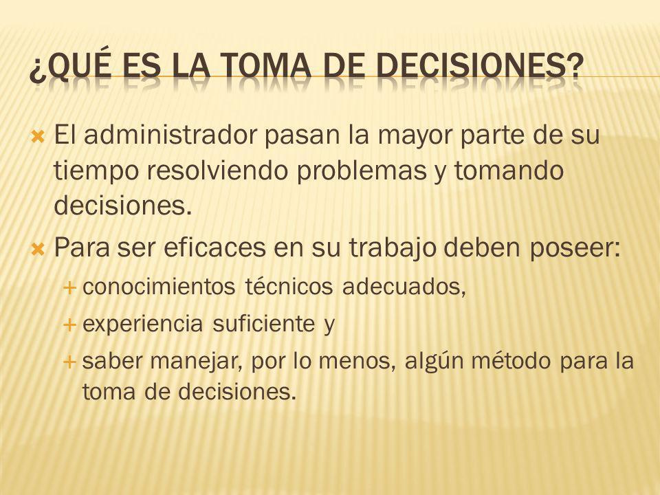 El administrador pasan la mayor parte de su tiempo resolviendo problemas y tomando decisiones.