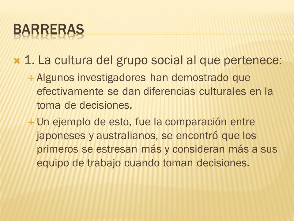 En la elección de alternativas influye una gran cantidad de factores personales, entre los que destacan: 1. La cultura del grupo social al que pertene