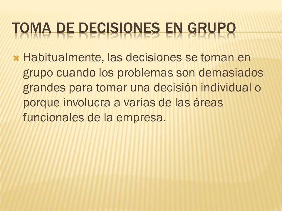 Muchas de la decisiones empresariales son tomadas por grupos de administradores. Por lo tanto, la toma de decisiones en grupo es considerada un compon