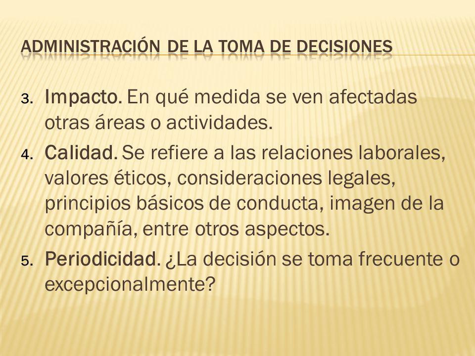 Toda decisión debe evaluarse en función de cinco características: 1. Efectos futuros. Tiene que ver con la medida en que los compromisos relacionados