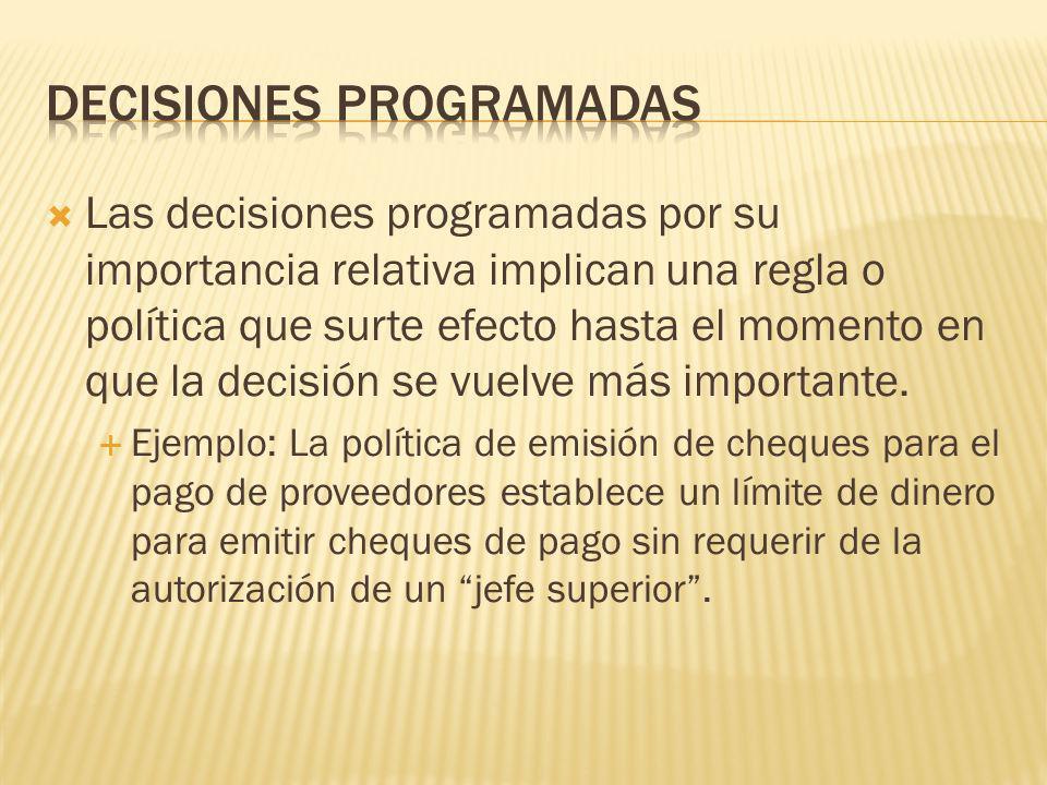 Existen las decisiones programadas por su recurrencia involucran situaciones repetitivas hasta cierto punto, cotidianas. Ejemplo: La política de reclu
