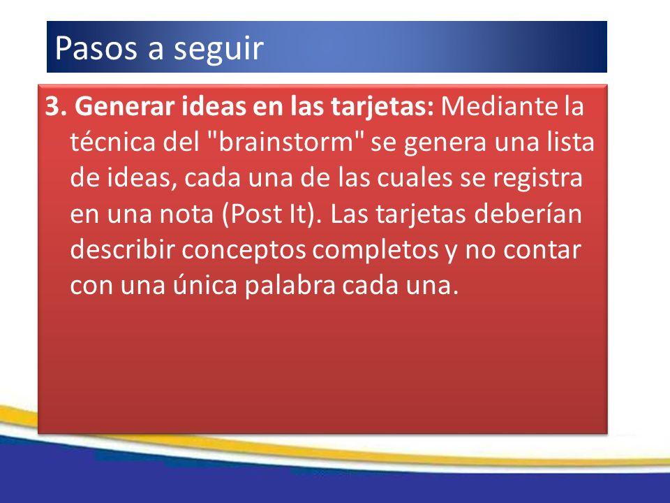 3. Generar ideas en las tarjetas: Mediante la técnica del