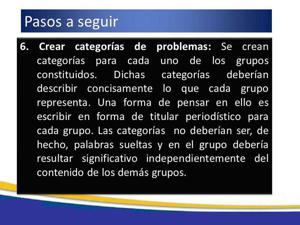 6. Crear categorías de problemas: Se crean categorías para cada uno de los grupos constituidos. Dichas categorías deberían describir concisamente lo q
