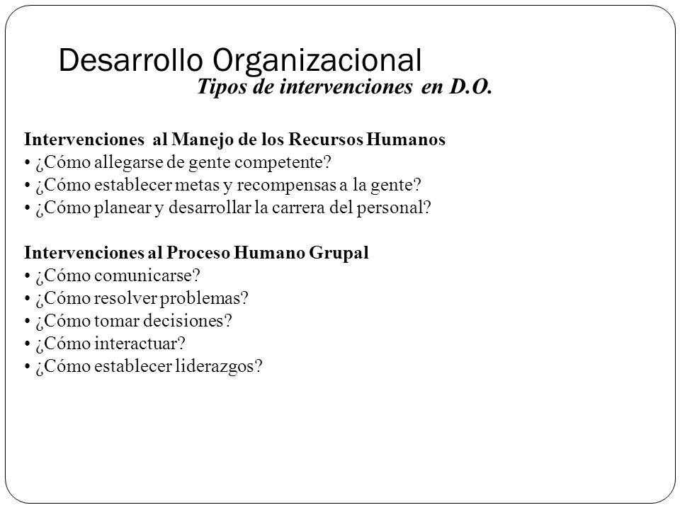 Desarrollo Organizacional Tipos de intervenciones en D.O.