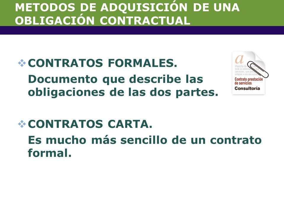 METODOS DE ADQUISICIÓN DE UNA OBLIGACIÓN CONTRACTUAL CONTRATOS FORMALES.