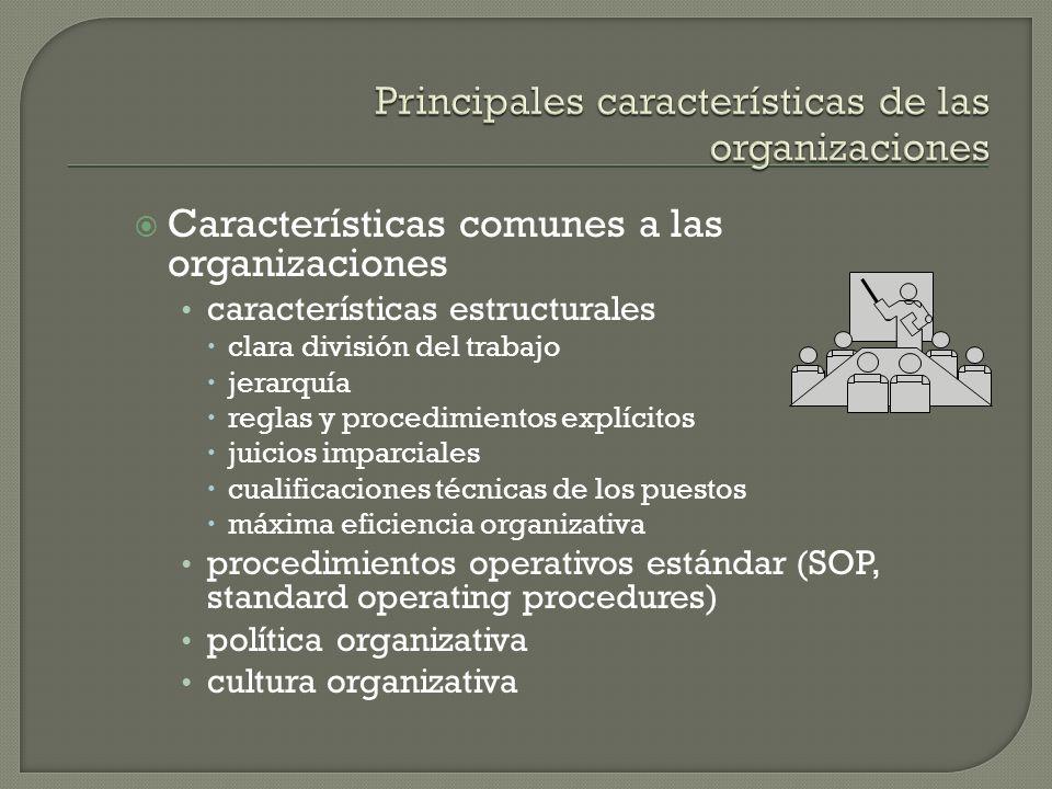 Características comunes a las organizaciones características estructurales clara división del trabajo jerarquía reglas y procedimientos explícitos jui