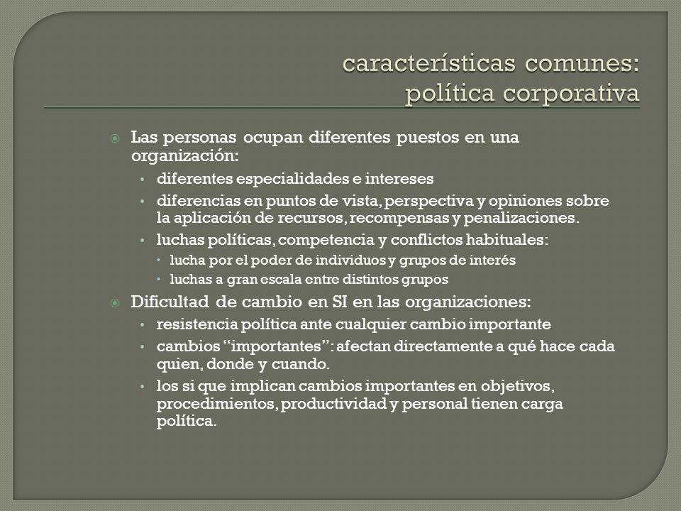 Las personas ocupan diferentes puestos en una organización: diferentes especialidades e intereses diferencias en puntos de vista, perspectiva y opinio