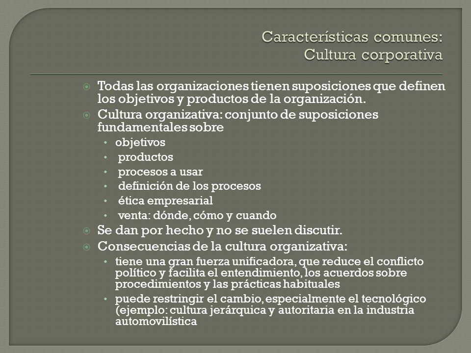 Todas las organizaciones tienen suposiciones que definen los objetivos y productos de la organización. Cultura organizativa: conjunto de suposiciones