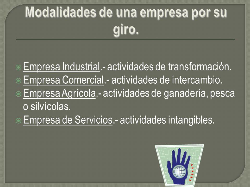 Empresa Industrial.- actividades de transformación. Empresa Comercial.- actividades de intercambio. Empresa Agrícola.- actividades de ganadería, pesca