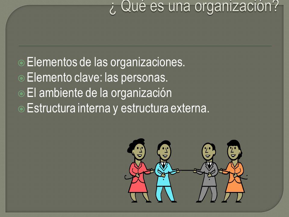 Elementos de las organizaciones. Elemento clave: las personas. El ambiente de la organización Estructura interna y estructura externa.