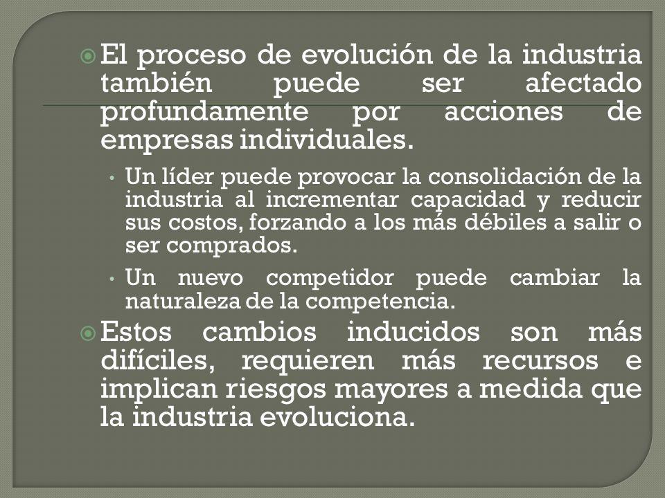 El proceso de evolución de la industria también puede ser afectado profundamente por acciones de empresas individuales. Un líder puede provocar la con