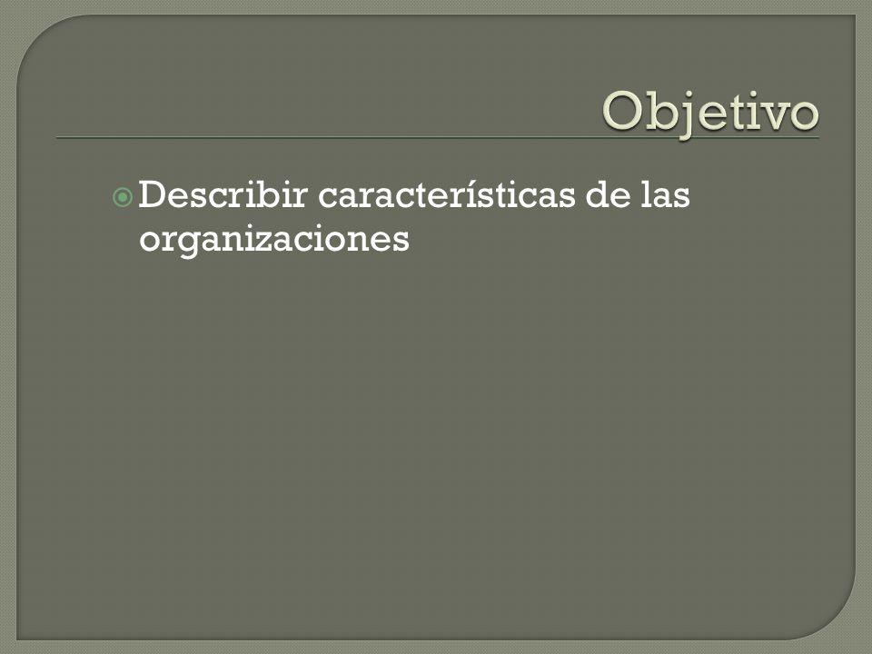 Describir características de las organizaciones