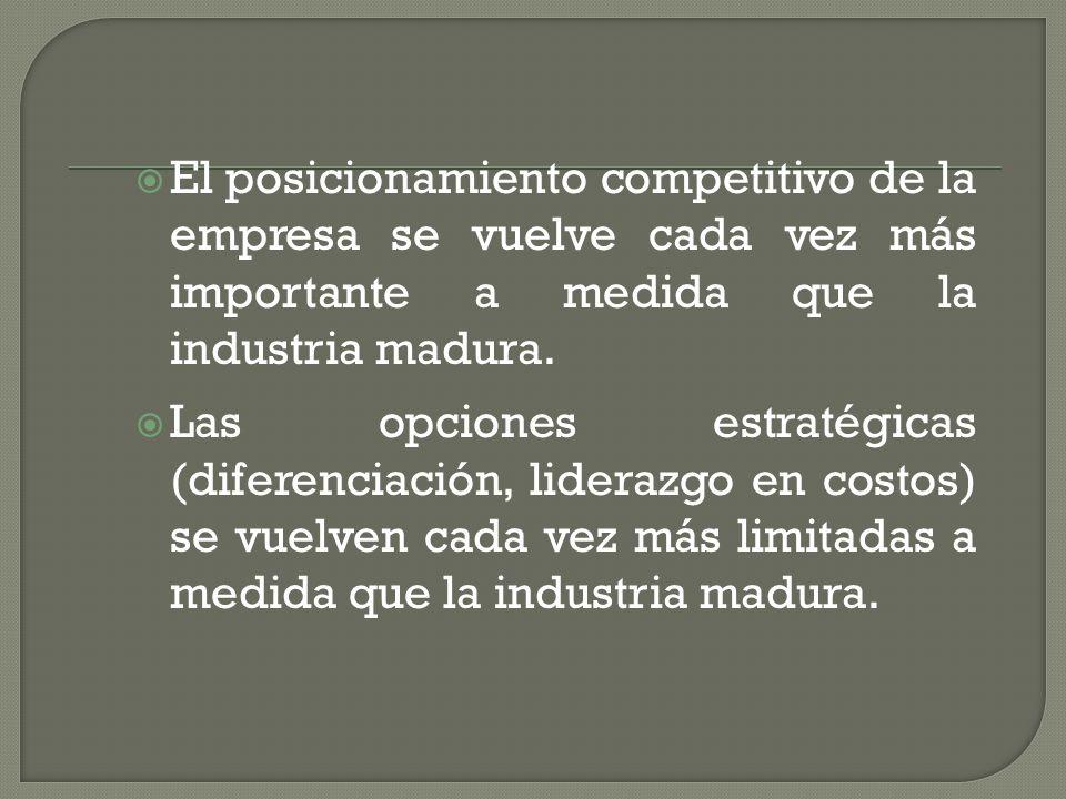 El posicionamiento competitivo de la empresa se vuelve cada vez más importante a medida que la industria madura. Las opciones estratégicas (diferencia