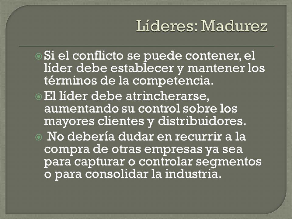 Si el conflicto se puede contener, el líder debe establecer y mantener los términos de la competencia. El líder debe atrincherarse, aumentando su cont