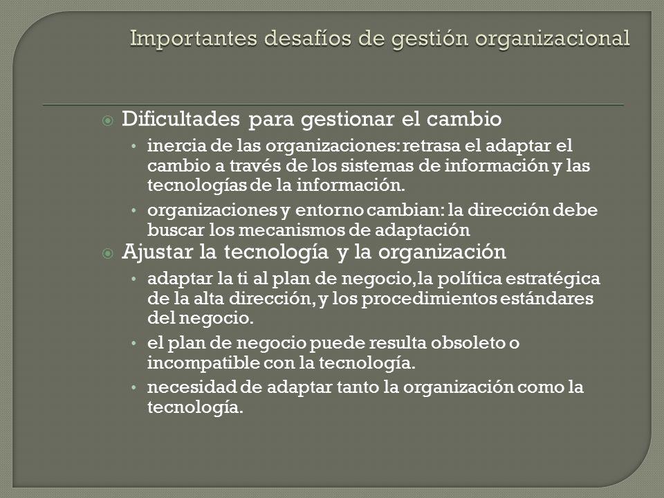 Factores de mediación: Entorno Cultura Estructura Procedimientos estándar Política Decisiones de gestión Oportunidad SISTEMAS DE INFORMACIÓ N ORGANIZACIÓ N