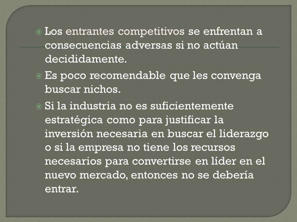 Los entrantes competitivos se enfrentan a consecuencias adversas si no actúan decididamente. Es poco recomendable que les convenga buscar nichos. Si l